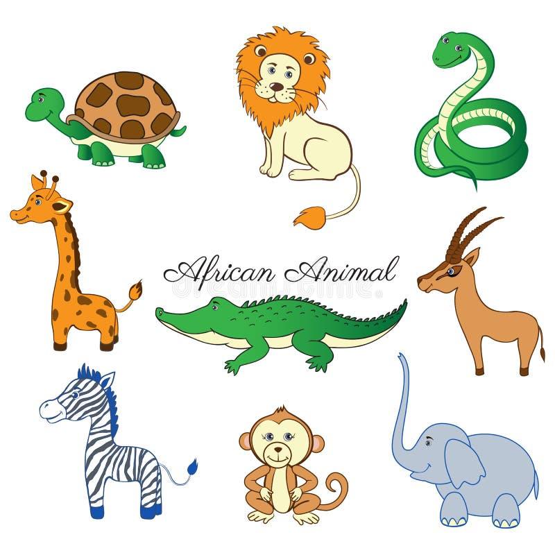 Djur sköldpadda för afrikansk tecknad film, giraff, lejon, sebra, krokodil, gasell, sebra, apa, elefant som isoleras på vit royaltyfri illustrationer