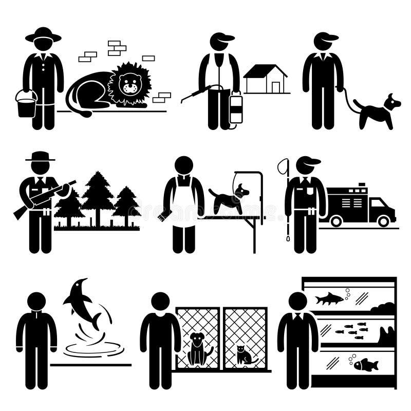 Djur släkta jobbockupationkarriärer royaltyfri illustrationer