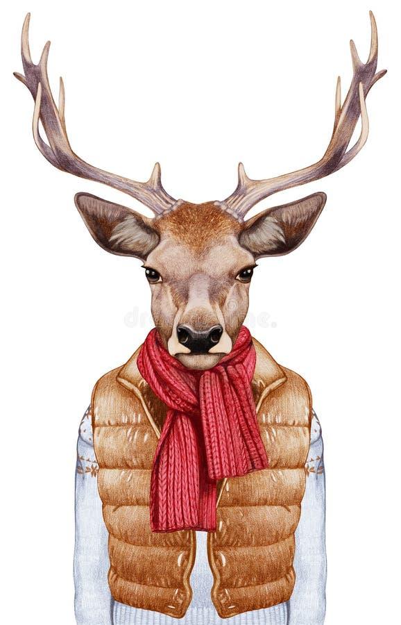 Djur som en människa Stående av hjortar i ner väst, tröja och halsduk stock illustrationer