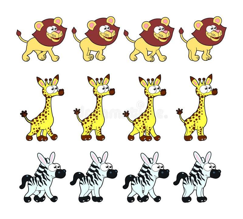 Djur som går animeringar vektor illustrationer