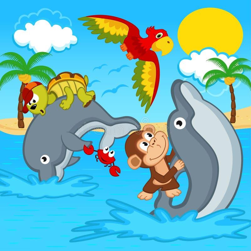 Djur som rider på delfin royaltyfri illustrationer