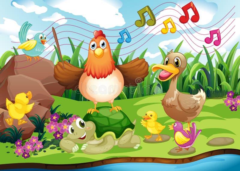 Djur som sjunger på flodstranden vektor illustrationer