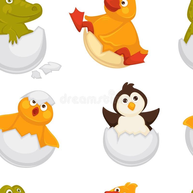 Djur som uthärdas från ägg, äggskal och sömlös modellvektor för reptilar stock illustrationer