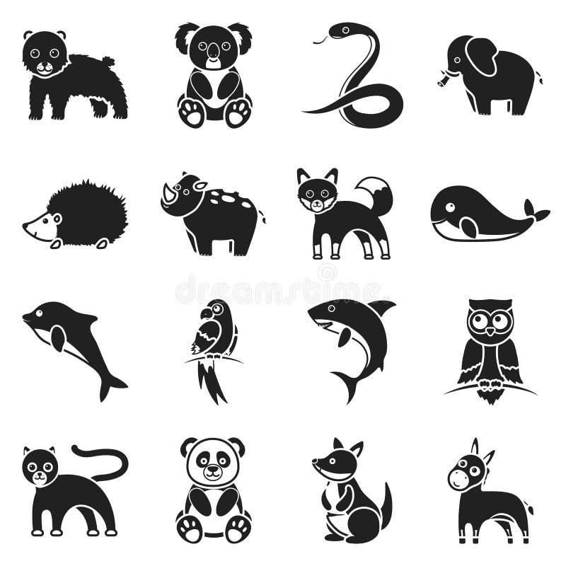 Djur ställde in symboler i svart stil Stor illustration för materiel för symbol för samlingsdjurvektor stock illustrationer