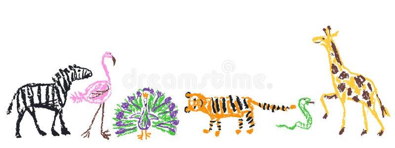 djur ställde in wild Färgpenna som unges den utdragna giraffet för hand, tiger, flamingo, orm, påfågel, sebra som isoleras på vit vektor illustrationer