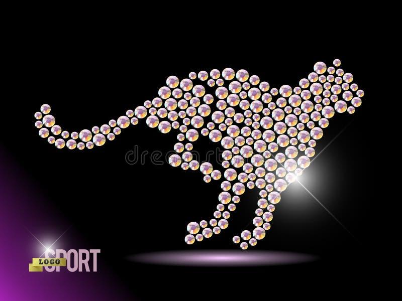 Djur stående för vektor som göras med bergkristallädelstenar på svart bakgrund royaltyfri illustrationer