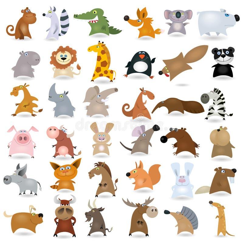 djur stor tecknad film royaltyfri illustrationer
