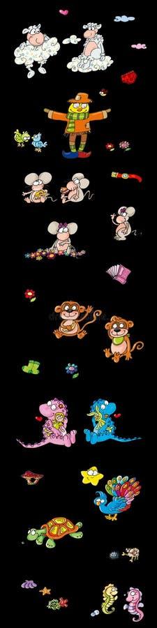 Djur svärtar uppåt, komiker för barnklistermärkear, illustrationen för ungar royaltyfri illustrationer
