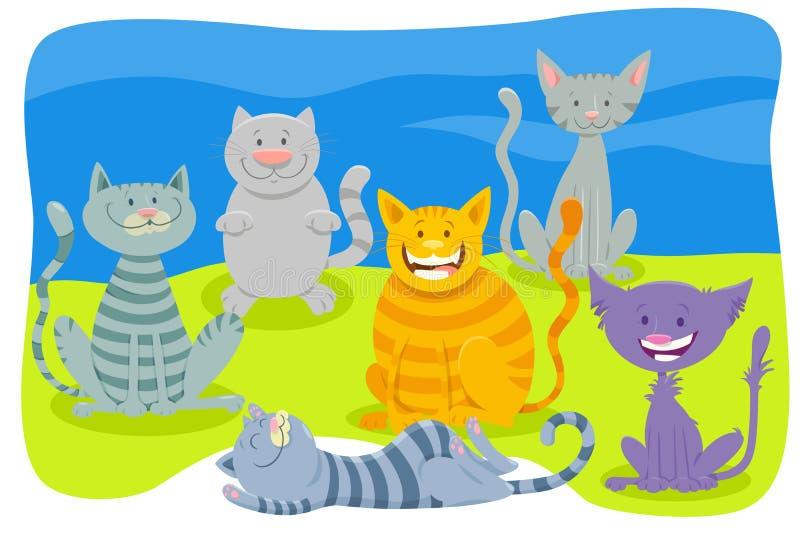 Djur teckengrupp för katter och för kattungar stock illustrationer