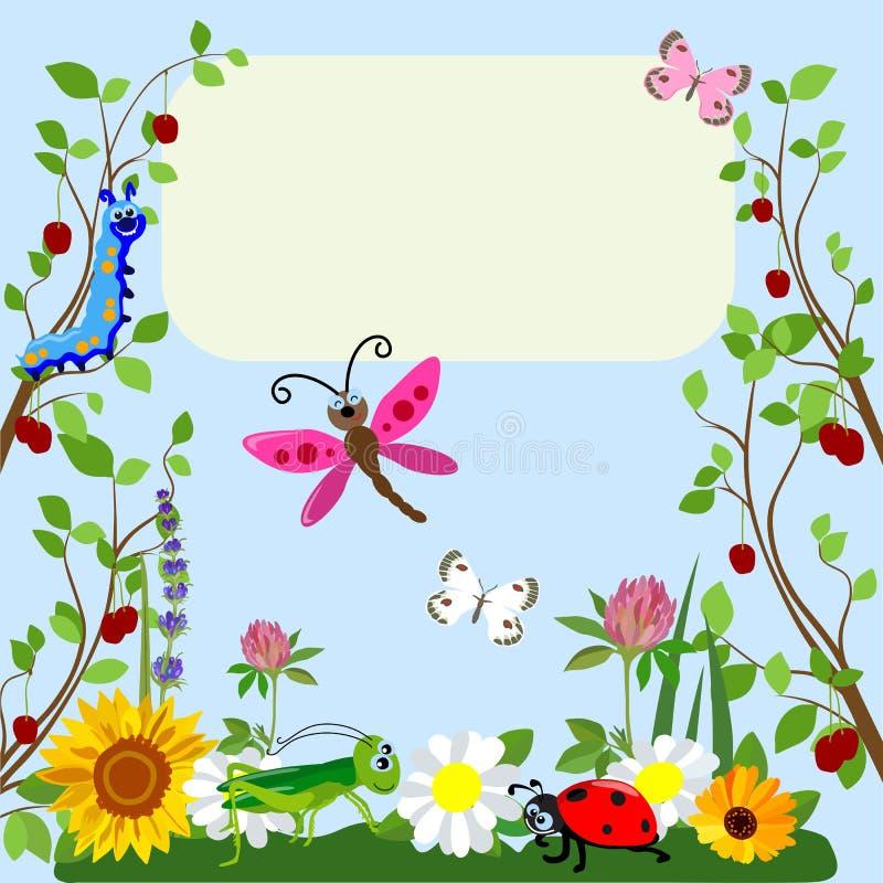 Djur tecknad film för gulliga kryp i gräs och blommor också vektor för coreldrawillustration royaltyfria foton
