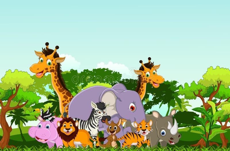 Djur tecknad film med tropisk skogbakgrund royaltyfri illustrationer