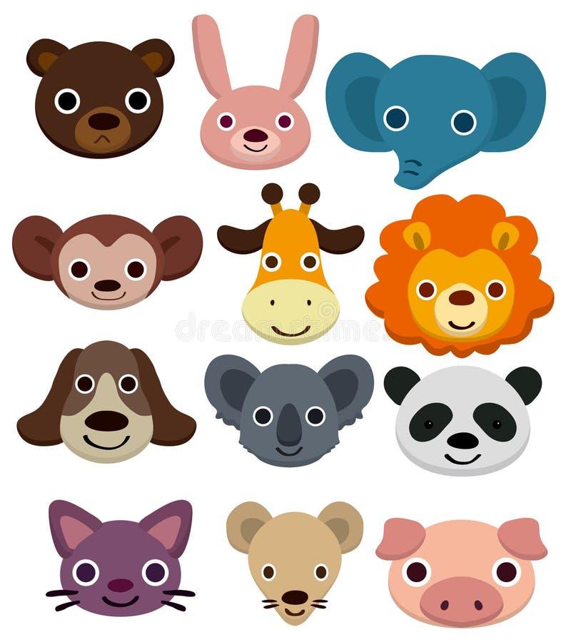 djur tecknad filmhuvudsymbol stock illustrationer