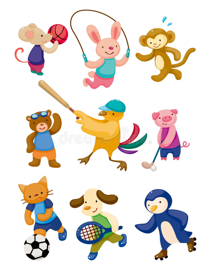 djur tecknad filmspelaresport royaltyfri illustrationer