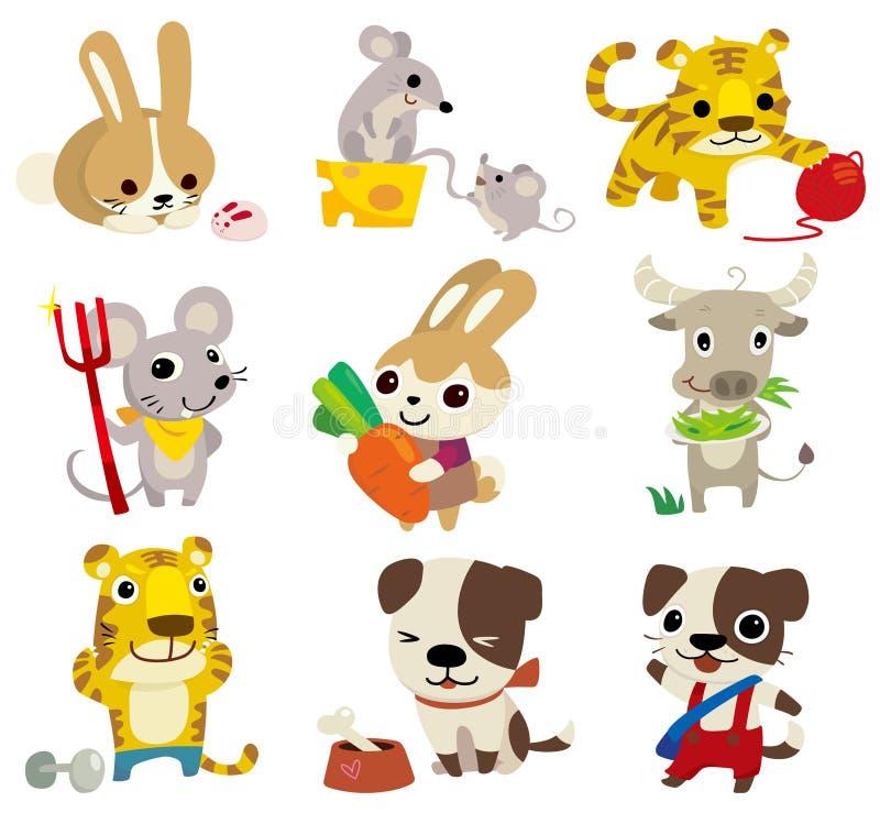 djur tecknad filmsymbol vektor illustrationer