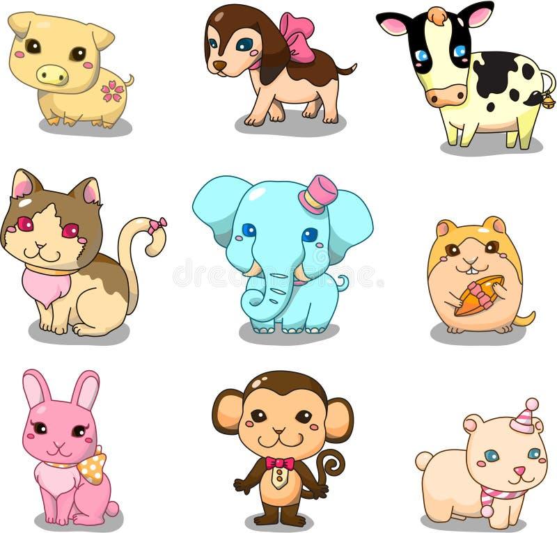 djur tecknad filmsymbol stock illustrationer
