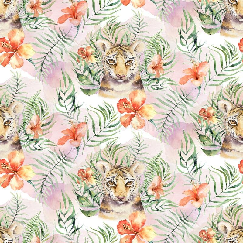 Djur tigermodell f?r s?ml?s vattenf?rg med tigrar med tropiska sidor, aloha djungelhawaiibo Hand m?lad palmblad royaltyfri foto