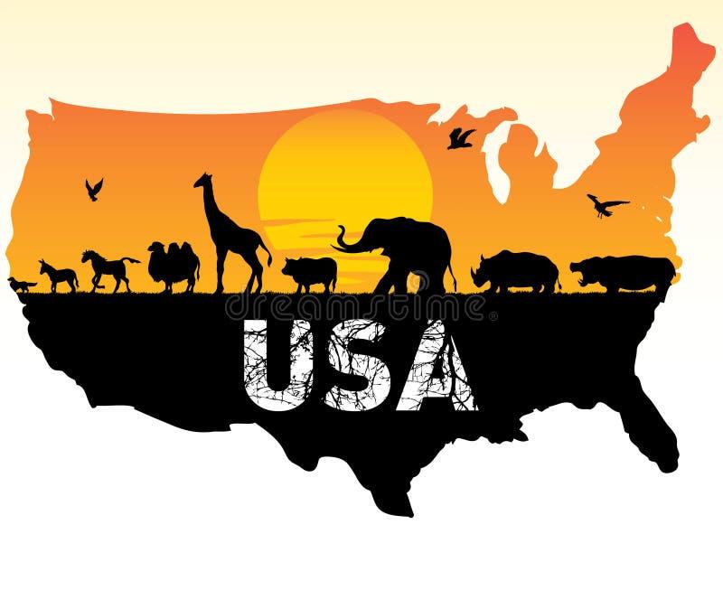 djur USA stock illustrationer