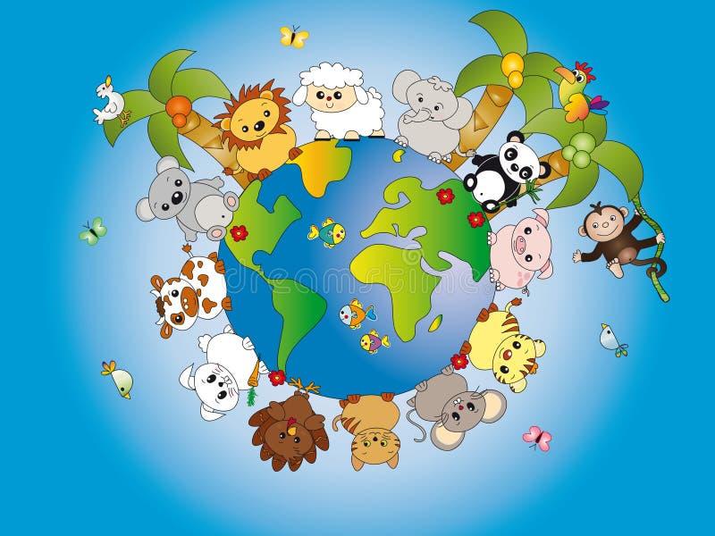 djur värld stock illustrationer