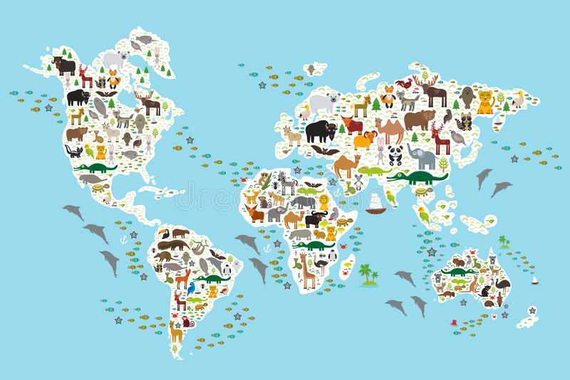 Djur världskarta för tecknad film för barn och ungar stock illustrationer
