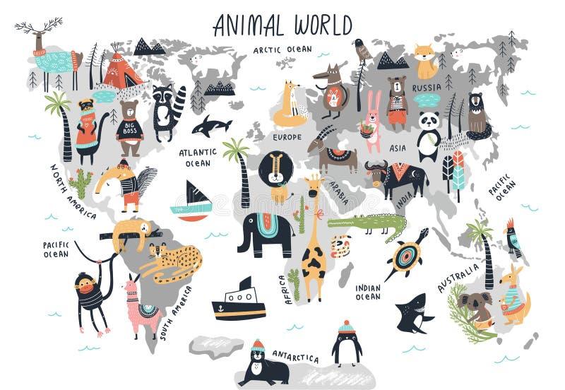 Djur världskarta - tryck för barnkammare för gullig tecknad filmhand utdraget i scandinavian stil också vektor för coreldrawillus royaltyfri illustrationer