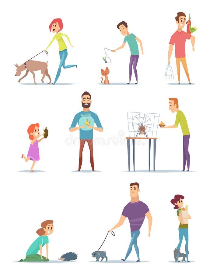 Djura ägare Lyckliga inhemska husdjur med den unga mannen och kvinnlig hundkapplöpning för hållaredjurkatter som går vektorteckna vektor illustrationer