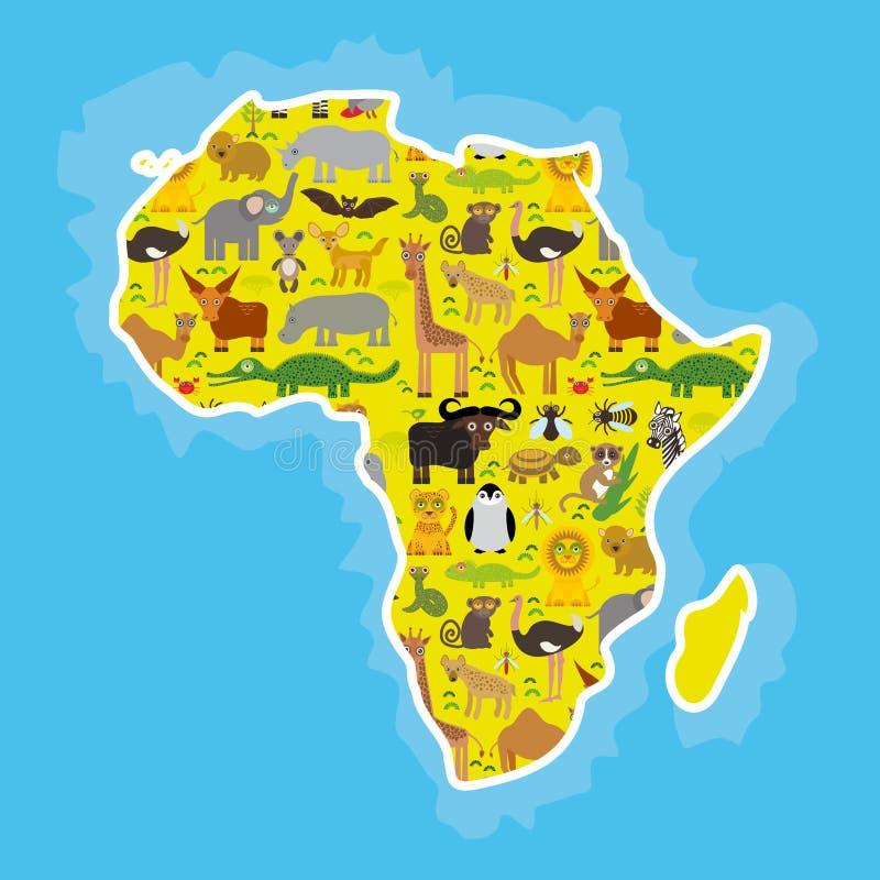 Djura Afrika: lemu för struts för tsetse för mygga för kamel för orm för Mamba för elefant för sköldpadda för krokodil för flodhä stock illustrationer