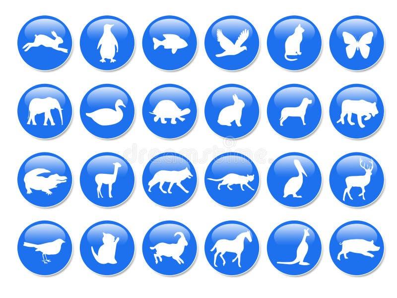 djura blåa symboler royaltyfri illustrationer