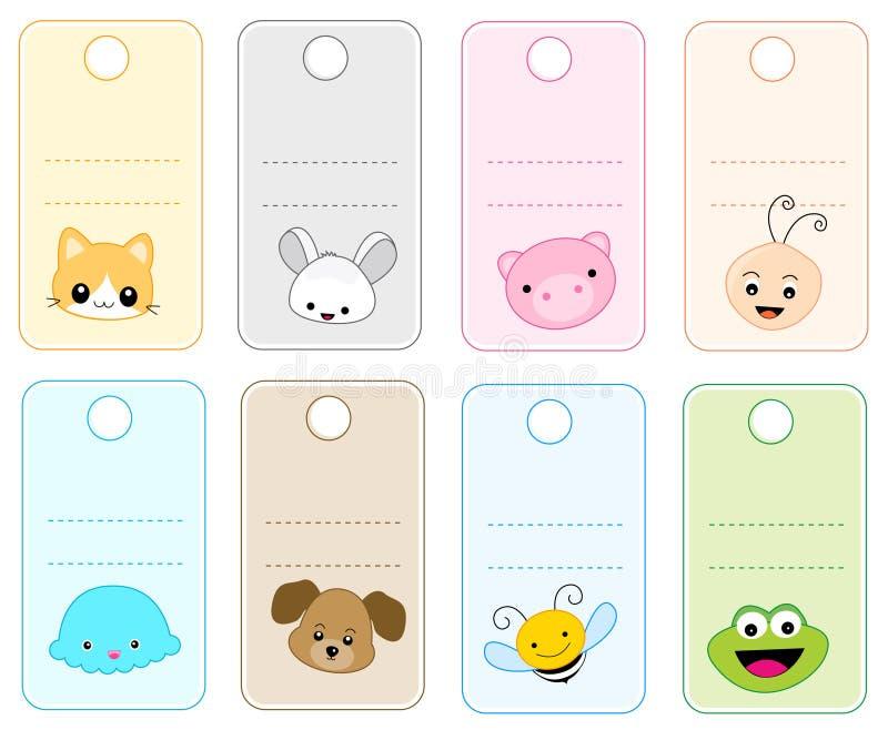 djura etiketter stock illustrationer