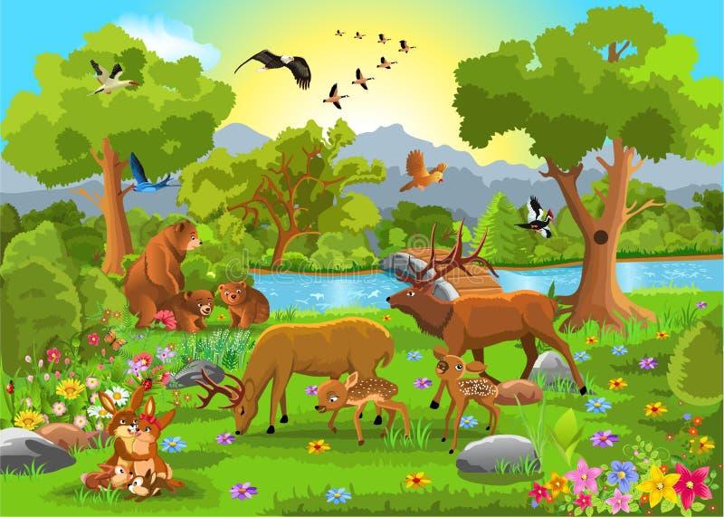 Djura familjer stock illustrationer