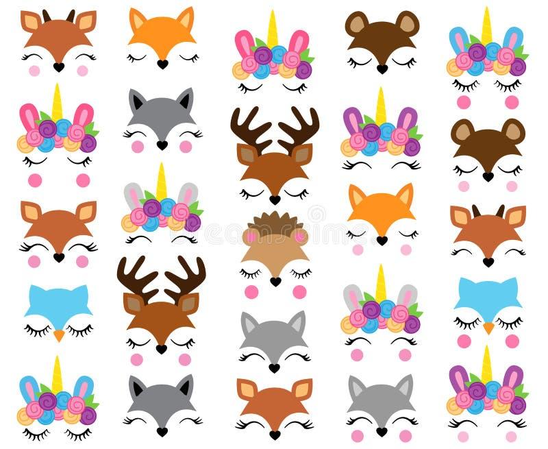 Djura framsidor för blandning och för match royaltyfri illustrationer