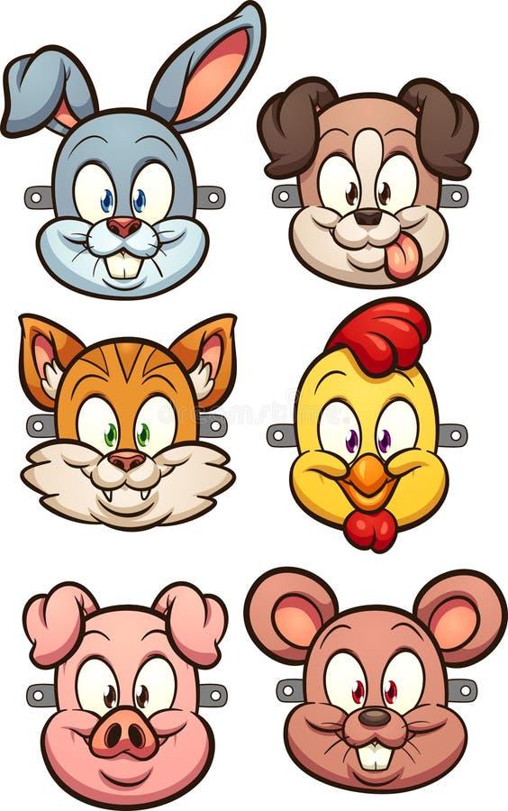 Djura framsidor för tecknad film för ungemaskeringar stock illustrationer
