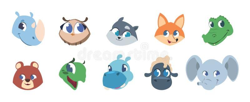 djura gulliga framsidor Behandla som ett barn husdjur och lösa skogdjur som ler huvud, djura barnteckenavatars Isolerad vektor royaltyfri illustrationer