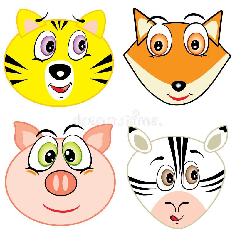 Djura head symboler för gullig tecknad film stock illustrationer