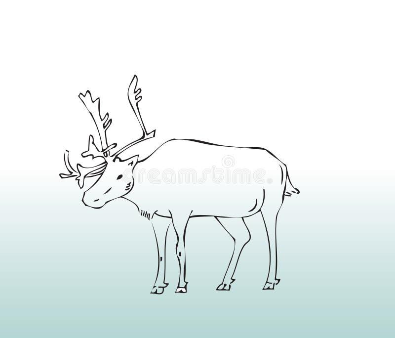 djura hjortar tecknad hand royaltyfri illustrationer