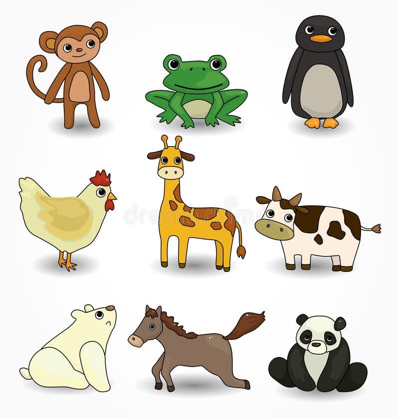 djura inställda tecknad filmsymboler royaltyfri illustrationer