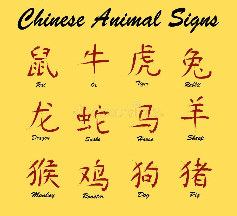 djura kinesiska tecken royaltyfri illustrationer
