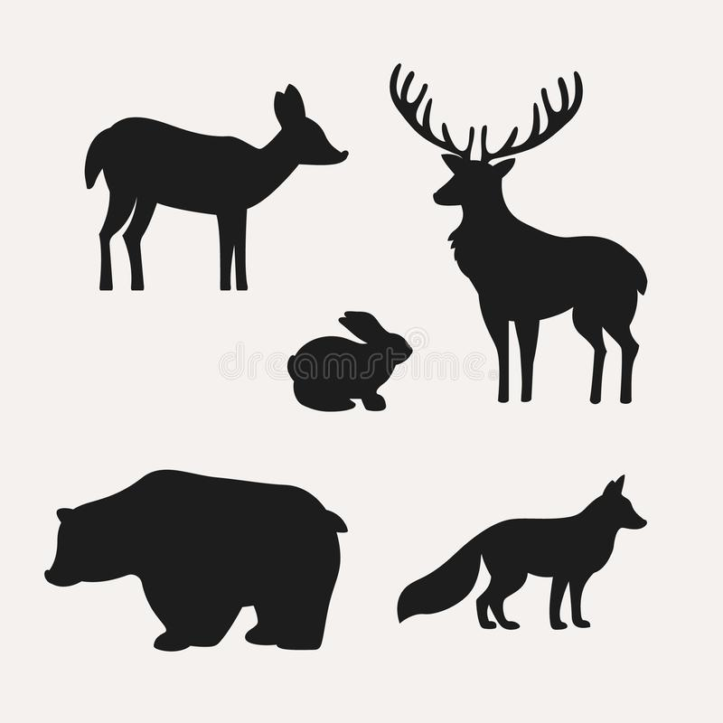 Djura konturer på vit bakgrund Konturer av hjortar, haren, björnen och räven royaltyfri illustrationer