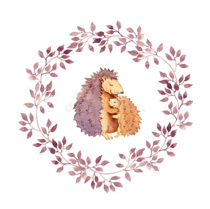 Djura kramar - fostra igelkotten omfamnar hennes barn Akvarell i blom- krans royaltyfri illustrationer