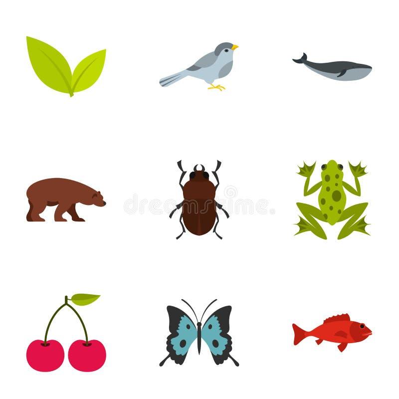Djura och blom- beståndsdelsymboler ställde in, plan stil stock illustrationer