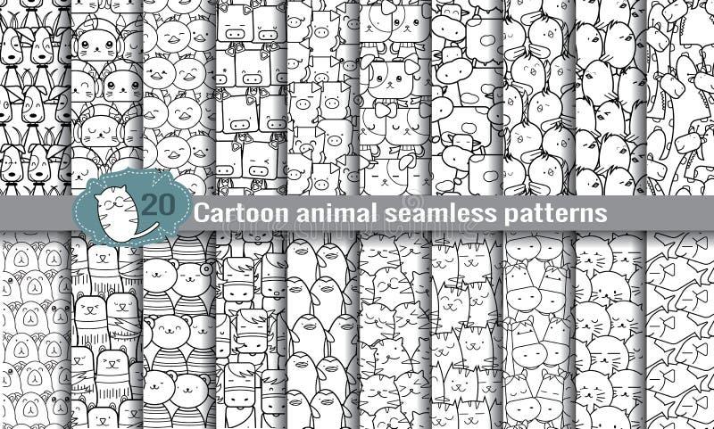 Djura sömlösa modeller för tecknad film royaltyfri illustrationer
