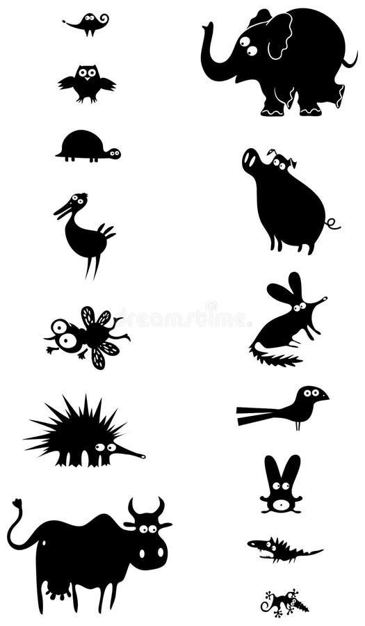 djura svarta silhouettes vektor illustrationer