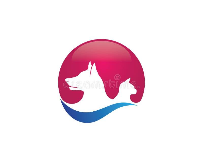 Djura symboler för hund och för katt och logomallsymboler app stock illustrationer