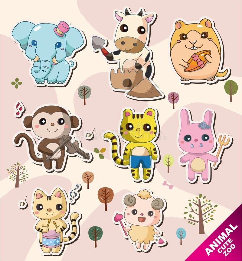 djura tecknad filmsymboler stock illustrationer