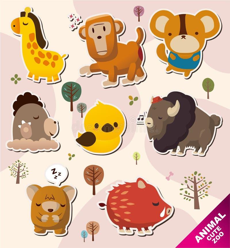 djura tecknad filmsymbolsetiketter royaltyfri illustrationer