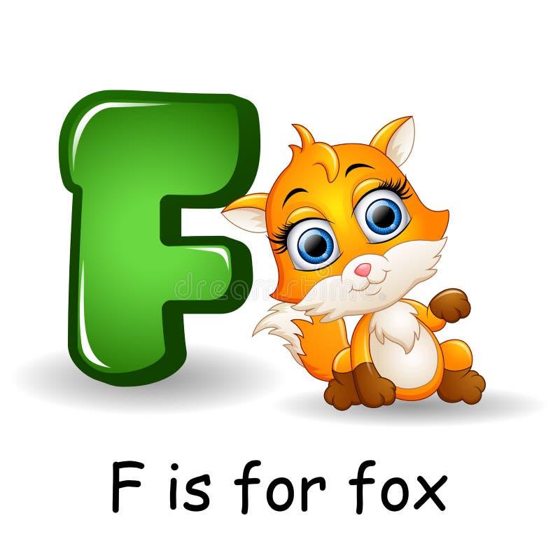 Djuralfabet: F är för räv vektor illustrationer