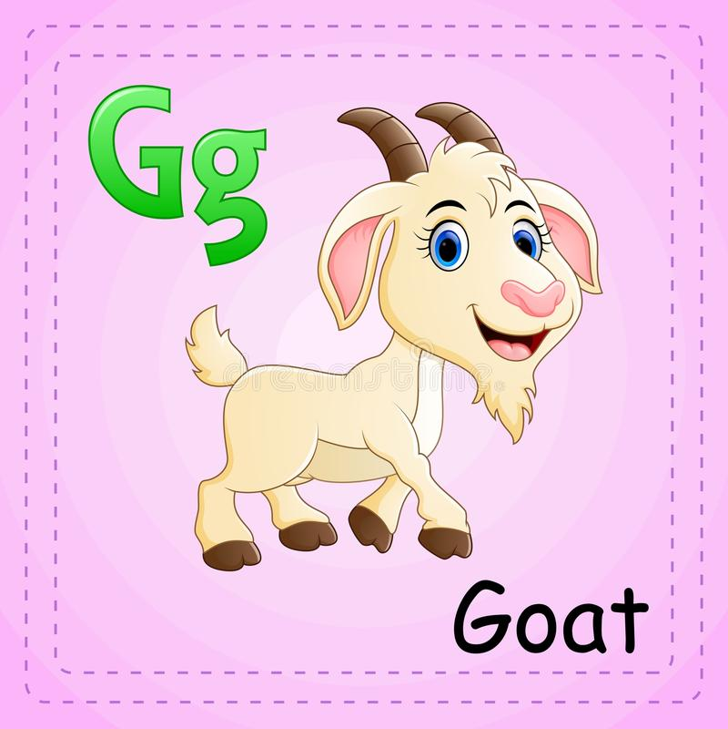 Djuralfabet: G är för get royaltyfri illustrationer