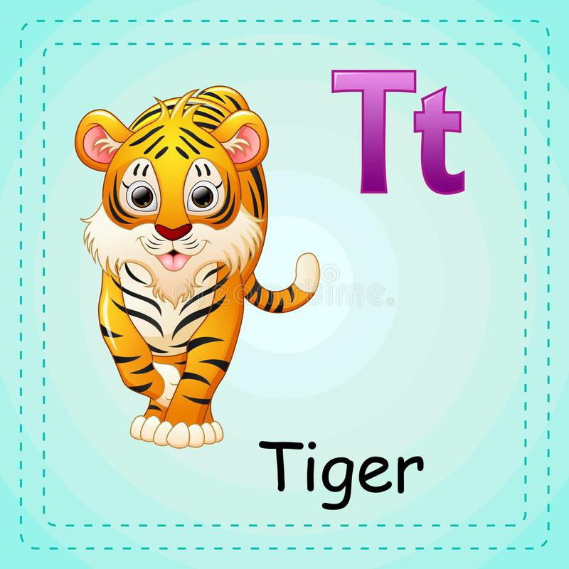 Djuralfabet: T är för tiger royaltyfri illustrationer