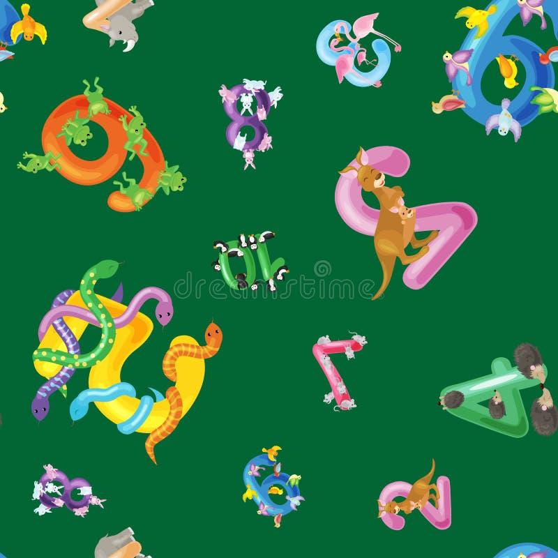 Djuralfabetbakgrund, uppsättning av tecknad filmengelska skriver bokstäver med gulligt zoodjurliv i sömlös modellvektor royaltyfri illustrationer