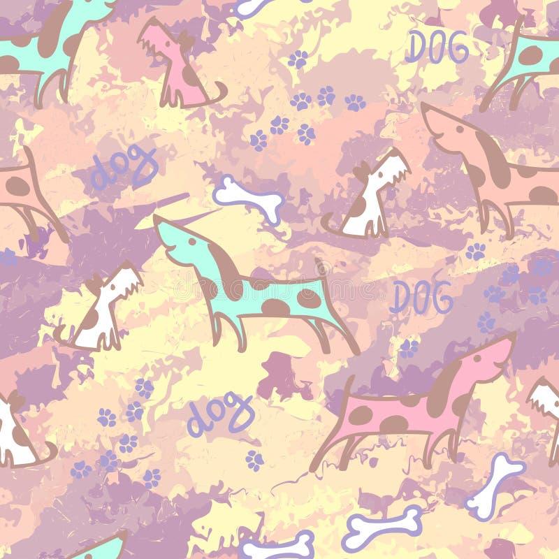 Djurbackgroung Sömlös textur med husdjur dogs roligt Sömlös modell för hundvektor Hand dragen klotterhund royaltyfri illustrationer