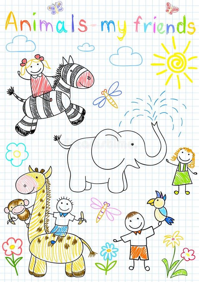 djurbarn lyckligt s skissar vektorn royaltyfri illustrationer